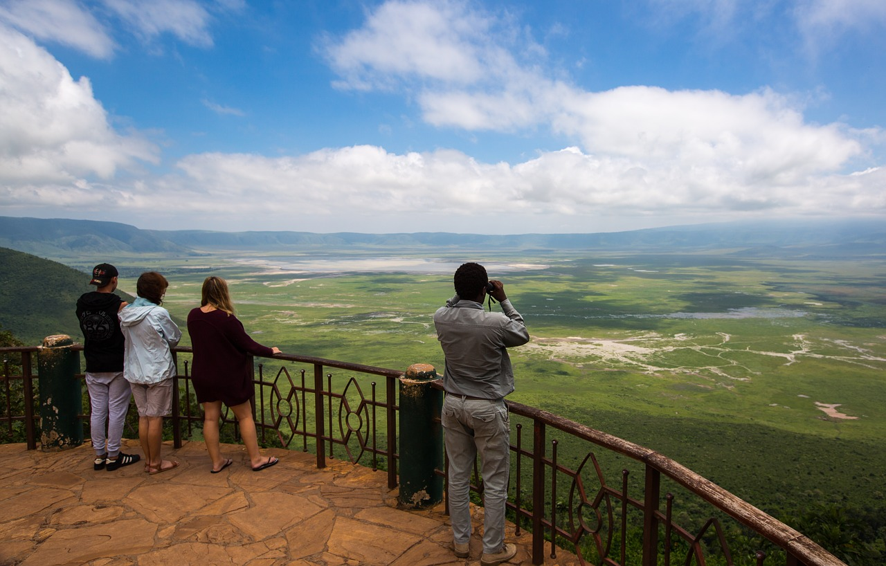 Main viewing platform in the Ngorongoro Conservation Area overlooking the Ngorongoro Crater
