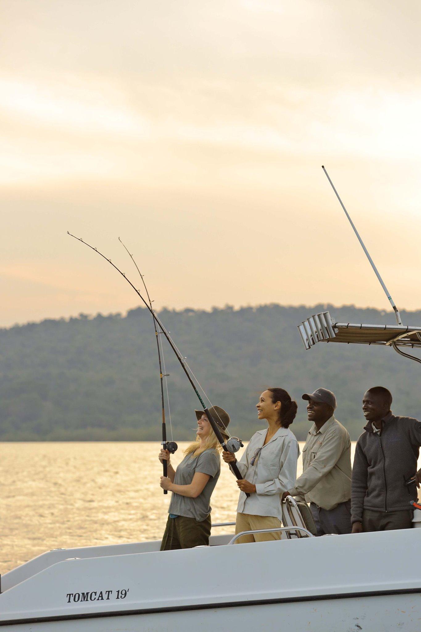 Fly-fishing in the waters around Rubondo Island